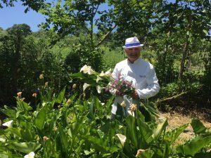 Peppe Zullo nel suo orto-giardino a Villa Jamele